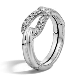 Bamboo Silver Diamond Hook Ring