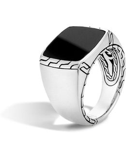 Batu Classic Chain Sterling Silver Signet Ring With Black Jade
