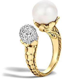 Dot 18k Yellow Gold Diamond Pavé Ring With Cultured Freshwater Pearl