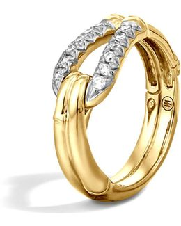 Bamboo 18k Gold Diamond Hook Ring