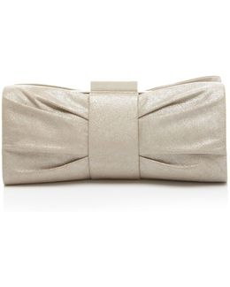 Metallic Pleated Bow Clutch