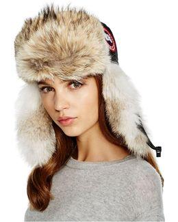 Coyote Fur Aviator Hat