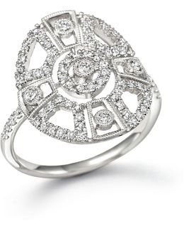 14k White Gold Antique Inspired Diamond Ring