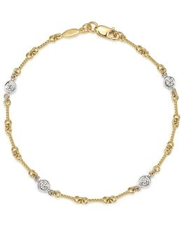 18k Yellow Gold And Diamond Station Bracelet