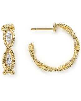 18k Yellow Gold New Barocco Braided Hoop Earrings With Diamonds