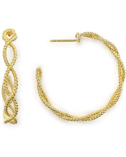 18k Yellow Gold New Barocco Braided Hoop Earrings
