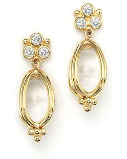 18k Gold Classic Amulet Earrings With Oval Rock Crystal And Diamonds