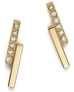 14k Small Staggered Bar Stud Earrings With Diamonds