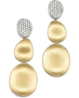Diamond Lunaria Three Drop Large Earrings In 18k Yellow Gold