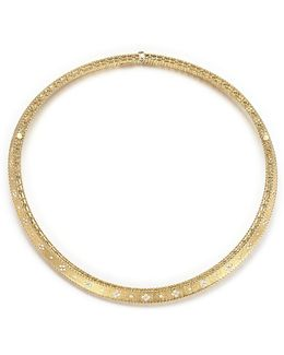 18k Yellow Gold Diamond Link Princess Collar Necklace