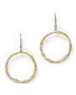 14k Gold And Diamond Open Circle Earrings