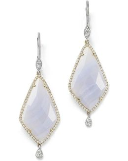 14k Gold And Blue Lace Chalcedony Earrings