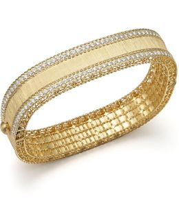 18k Yellow Gold And Diamond Satin Princess Bangle