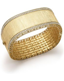 18k Yellow Gold And Diamond Large Satin Princess Bangle
