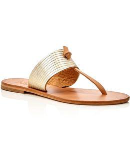 Nice Metallic Embossed Thong Sandals