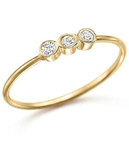 14k Yellow Gold And Diamond Bezel-set Ring