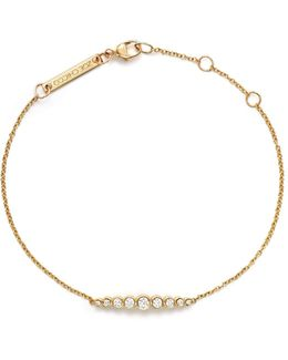 14k Yellow Gold And Diamond Graduated Bezel-set Bracelet