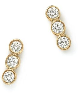 14k Yellow Gold And Diamond Bezel-set Trio Earrings