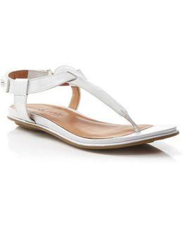 Flat Thong Sandals - Metallic T-strap