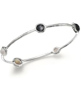 Sterling Silver Bangle In Black Tie