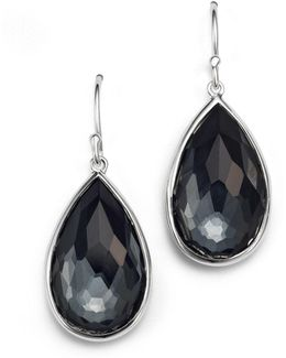 Sterling Silver Rock Candy® Medium Pear Wire Earrings In Clear Quartz And Hematite