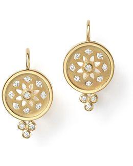 18k Gold Mandala Cutout Earrings With Diamonds