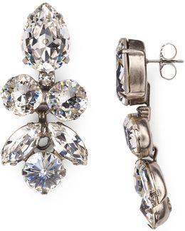 Lotus Bloom Swarovski Crystal Drop Earrings
