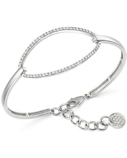 Diamond Oval Bangle Bracelet In 14k White Gold