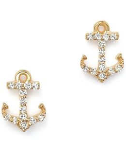 Diamond Anchor Earrings In 14k Yellow Gold