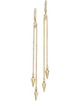 Diamond Spike Drop Earrings In 14k Yellow Gold