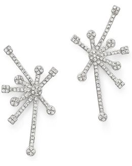 Diamond Starburst Earrings In 14k White Gold