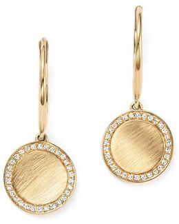 Diamond Disc Drop Earrings In 14k Yellow Gold