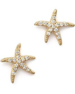 Diamond Starfish Earrings In 14k Yellow Gold