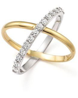 "Diamond ""x"" Ring In 14k Yellow And White Gold"