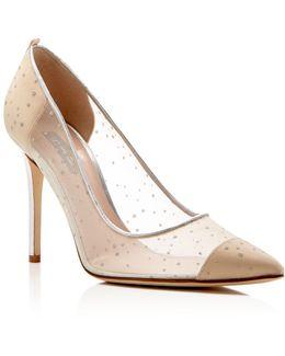 Glass Glitter Dot Pointed Toe High Heel Pumps