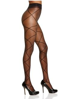 Alice + Olivia By Sheer Diamond Lace-up Illusion Tights