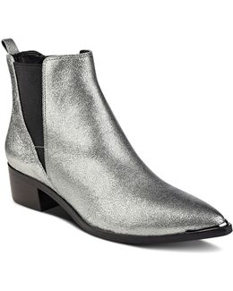Yale Metallic Leather Pointed Toe Chelsea Booties