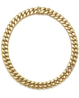 Gourmette Diamond & 18k Yellow Gold Chain Necklace