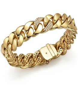 18k Yellow Gold Link Bracelet With Diamonds