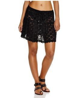 Drawstring Dot Lace Skirt Swim Cover-up