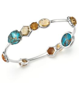 Sterling Silver Rock Candy® Mixed Stone Bangle In Safari