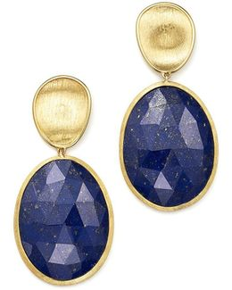 18k Yellow Gold Lapis Two Drop Earrings