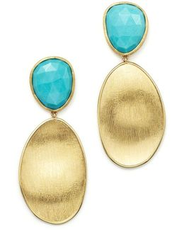 18k Yellow Gold Turquoise Two Drop Earrings