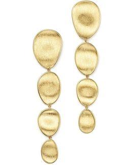 18k Yellow Gold Lapis Two Drop Earrings