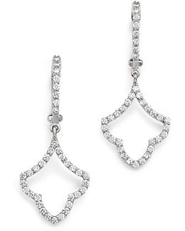 18k White Gold Art Deco Diamond Tear Drop Earrings