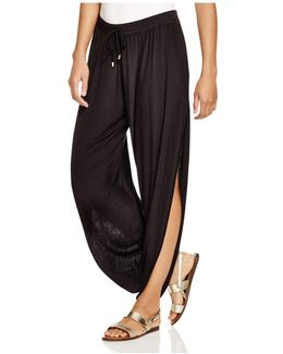 Solid Draped Swim Cover-up Pants