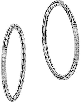 Classic Chain Silver Diamond Pavé Medium Hoop Earrings
