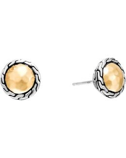 Classic Chain Gold & Silver Round Stud Earrings