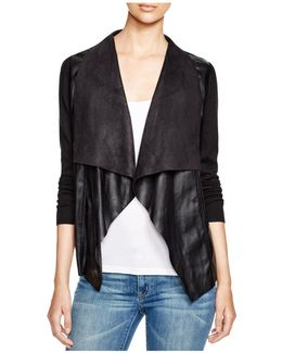 Draped Faux Leather Cardigan