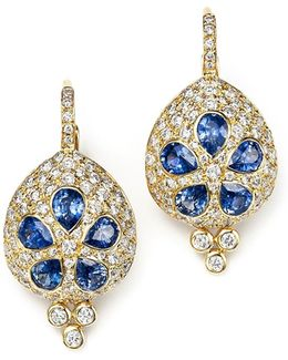 18k Gold Sea Biscuit Earrings With Blue Sapphire And Diamonds